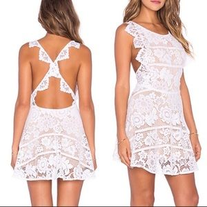 For Love and Lemons Gianna Apron White Lace Dress